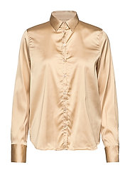 Martina Satin Shirt - PEBBLE