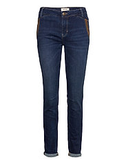 Etta Leather Jeans - BLUE