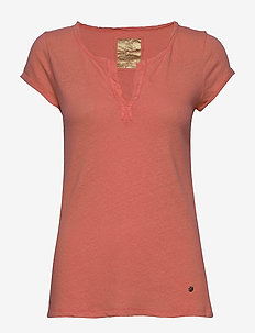 Troy Tee SS - t-shirts - fusion coral