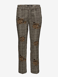 Ivana Shannon Pant - trousers with skinny legs - ecru check