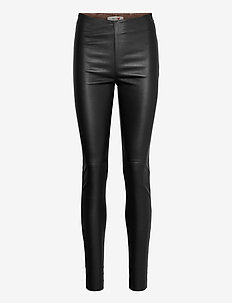 Lucille Stretch Leather Legging - leggings - black