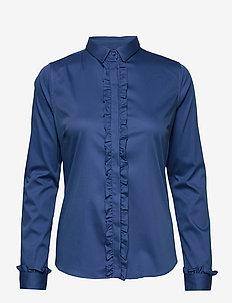 Tilda Flounce Shirt - long-sleeved shirts - federal blue
