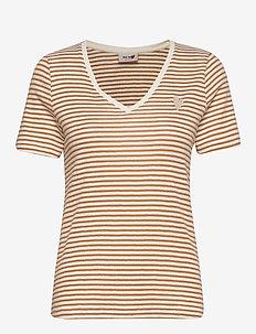 Kenia Glam Stripe V-neck - t-shirts - bran