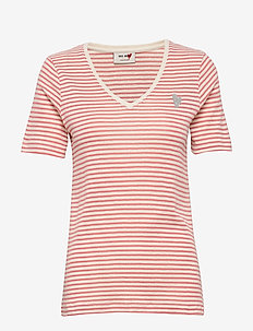 Kenia Glam Stripe V-neck - t-shirts - sugar coral