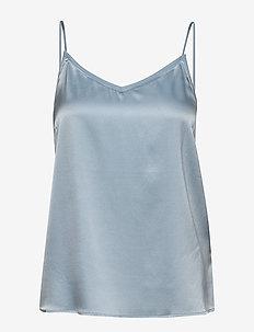 Ditte Silk Singlet - basic t-shirts - celestial blue