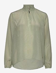 Gallia Silk Blouse - long sleeved blouses - olivine stripe