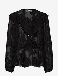 Alora Jacquard Blouse - BLACK