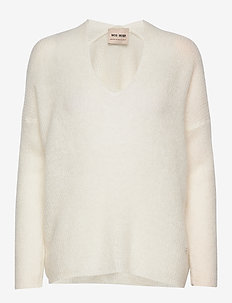 Thora V-neck Knit - jumpers - ecru
