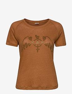 Mag Linen Tee SS - printed t-shirts - bran