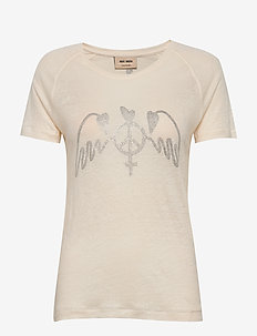 Mag Linen Tee SS - printed t-shirts - ecru