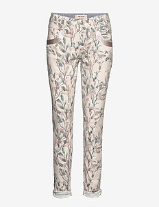 Naomi Olive Pant - straight jeans - blue flower