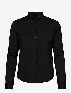 Tina Jersey Shirt - långärmade skjortor - black