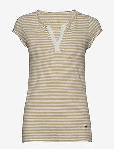 Troy Stripe Tee SS - stripede t-skjorter - safari