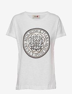 Yara Anniversary Tee - printed t-shirts - white with gold