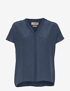 Ariana Silk Blouse - kortærmede bluser - dark blue