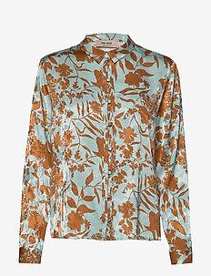 Nura Stencil Shirt - langermede skjorter - mint haze