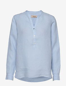 Danna Linen Blouse - long sleeved blouses - chambray blue