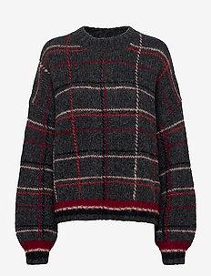 Sasha Check Knit - jumpers - dark grey melange