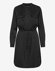 Amy Twill Dress - skjortklänningar - black