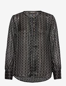 Perla Tile Blouse - long sleeved blouses - black