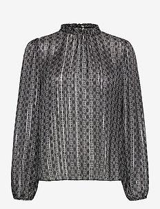 Kana Tile Blouse - long sleeved blouses - black