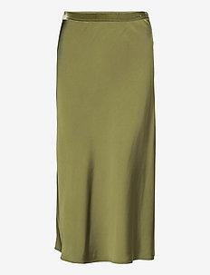 Bias Satin Skirt - lange rokken - winter moss