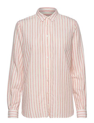 Kayla Fine Stripe Shirt (Mandarin Red) (799 kr) MOS MOSH |