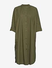 Moshi Moshi Mind - remain shirtdress crisp - midi jurken - olive night - 0