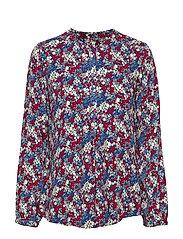 still shirt - BLUE/RED FLOWER