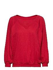anna v-neck blouse - CHILI RED