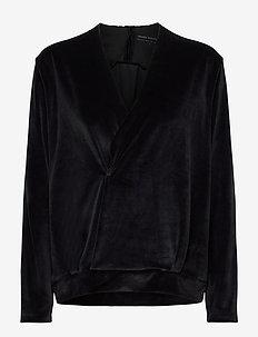 pirou top velvet - sweatshirts - black
