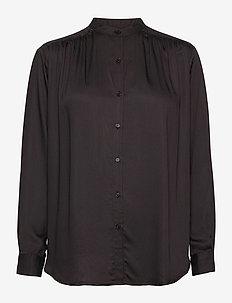 nova silky shirt - langermede bluser - ganache brown