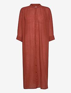 laurella shirtdress gauze - summer dresses - warm brown