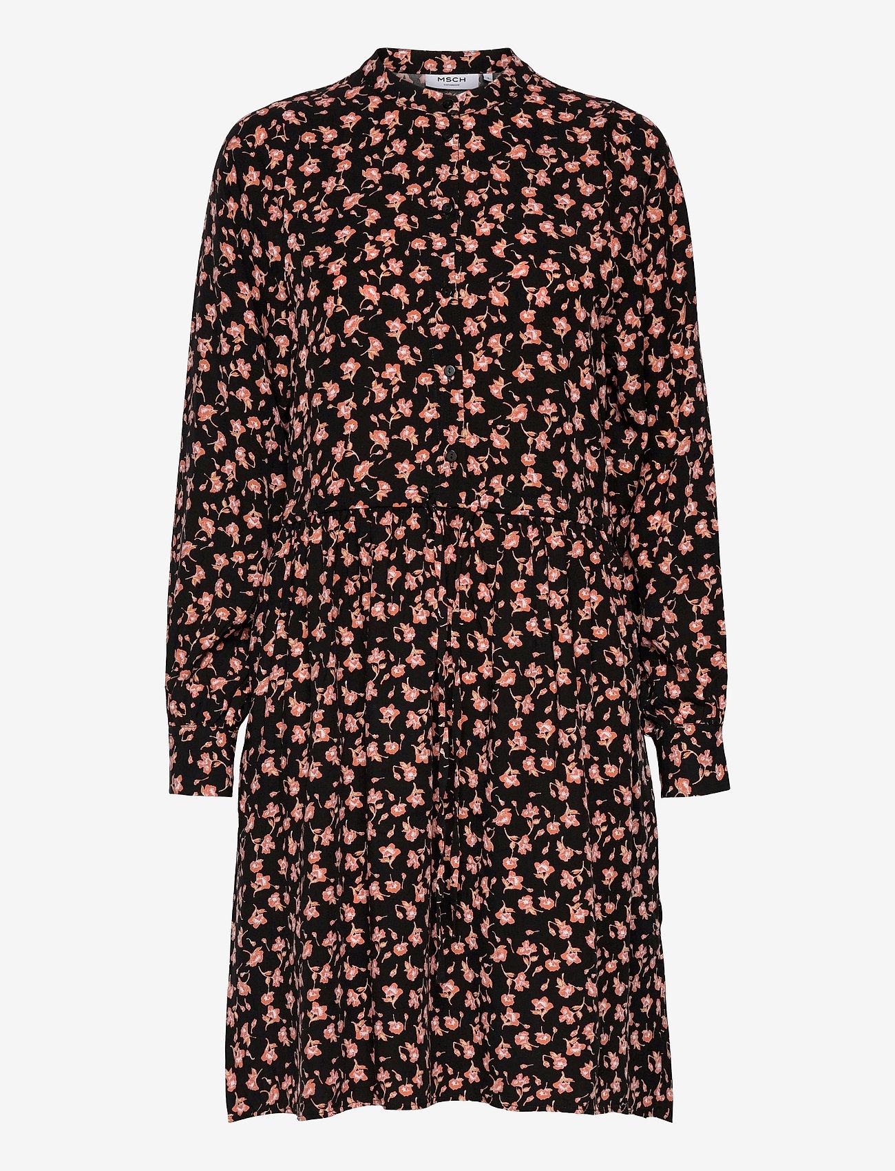 MOSS COPENHAGEN - Benna Beach LS Dress AOP - summer dresses - black flower - 0