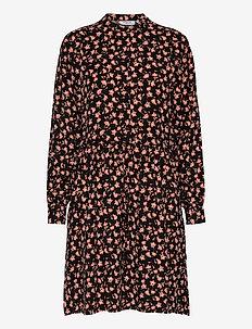 Benna Beach LS Dress AOP - midi dresses - black flower