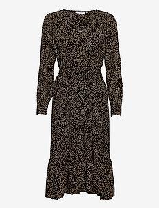 Talla Beach LS Dress - midi dresses - black dot