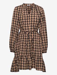 Florene LS Dress AOP - zomerjurken - brown check