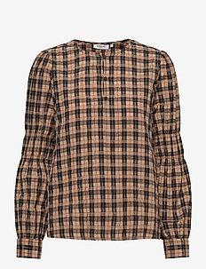 Florene LS Top AOP - blouses met lange mouwen - brown check