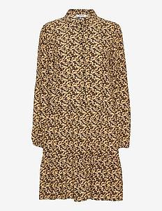 Wilda Morocco LS Short Dress AOP - sommerkjoler - blk flower
