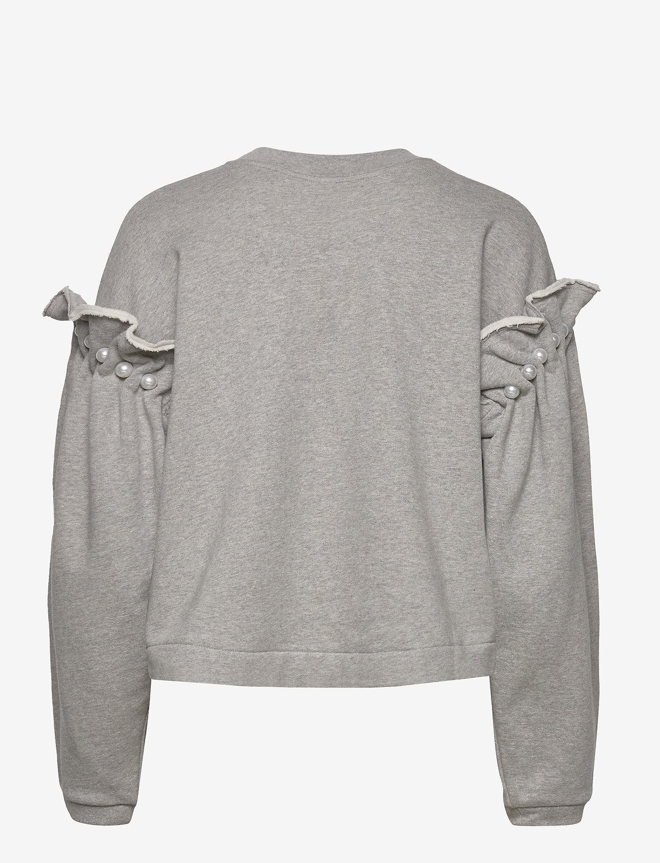 Mother of Pearl - DANI CROPPED JUMPER WITH PEARL SHOULDER - sweatshirts en hoodies - grey - 1