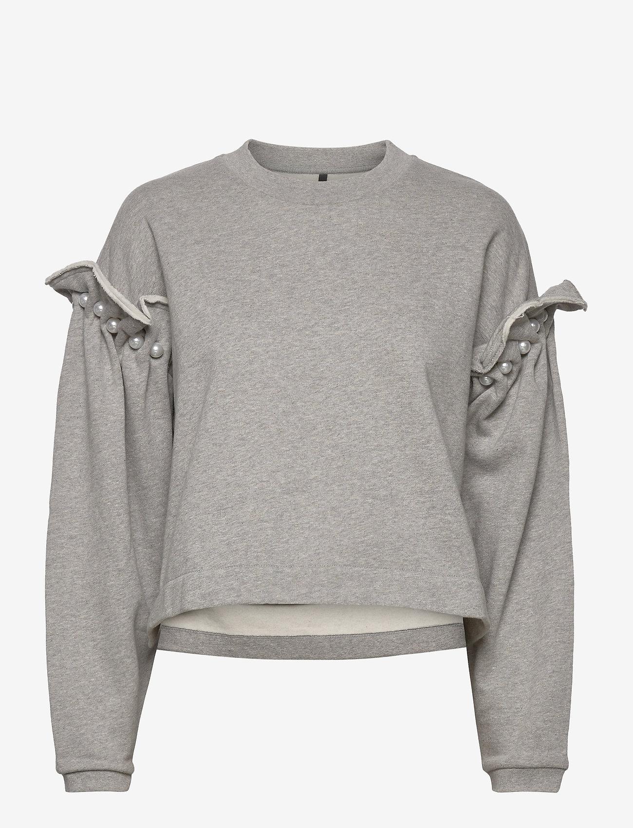 Mother of Pearl - DANI CROPPED JUMPER WITH PEARL SHOULDER - sweatshirts en hoodies - grey - 0