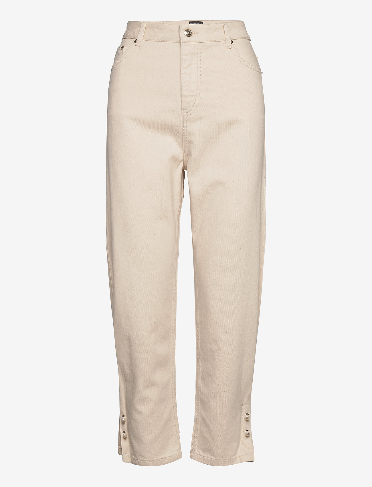 Mother of Pearl - KYRA ECRU DENIM JEANS WITH PEARL BAR CUFF - straight jeans - ecru - 0