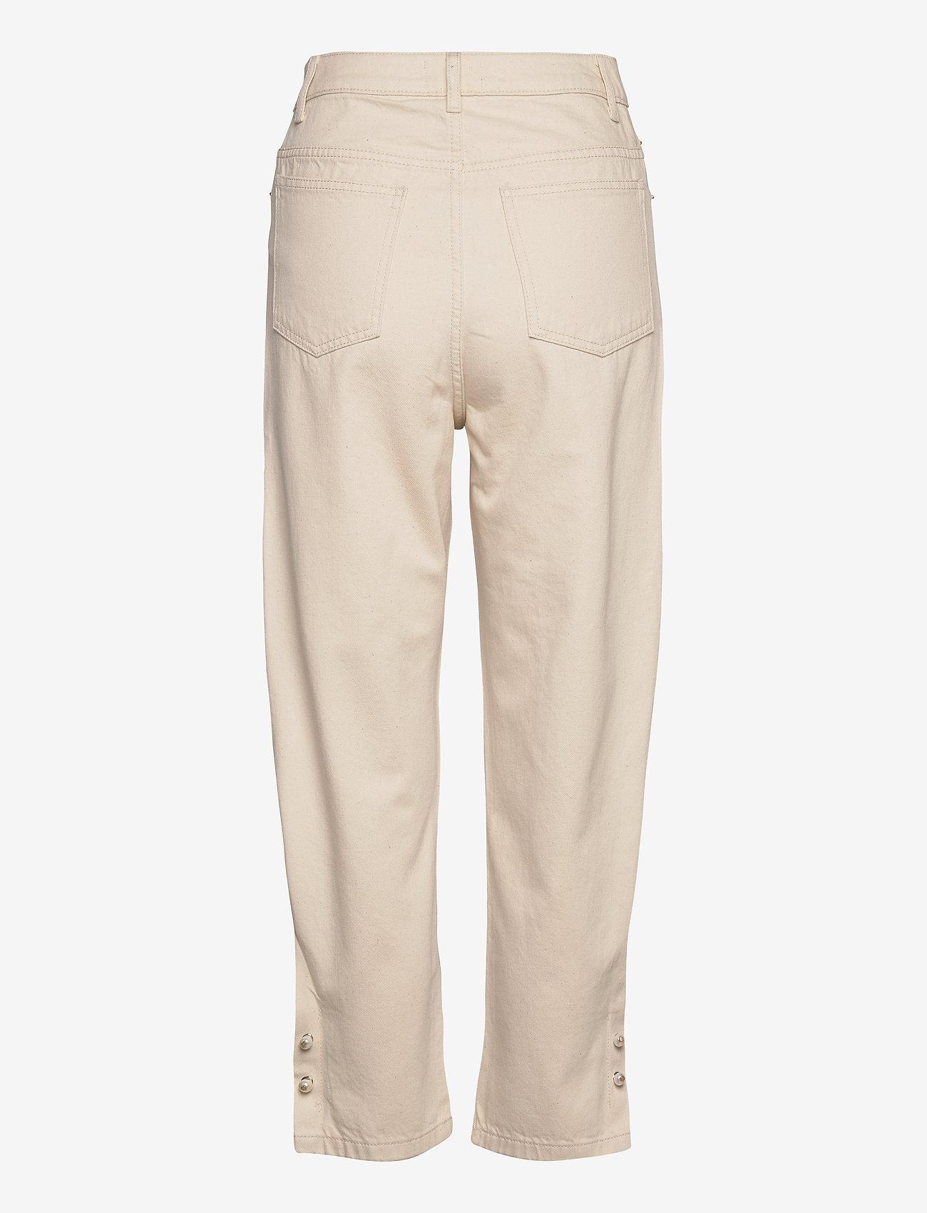 Mother of Pearl - KYRA ECRU DENIM JEANS WITH PEARL BAR CUFF - straight jeans - ecru - 1