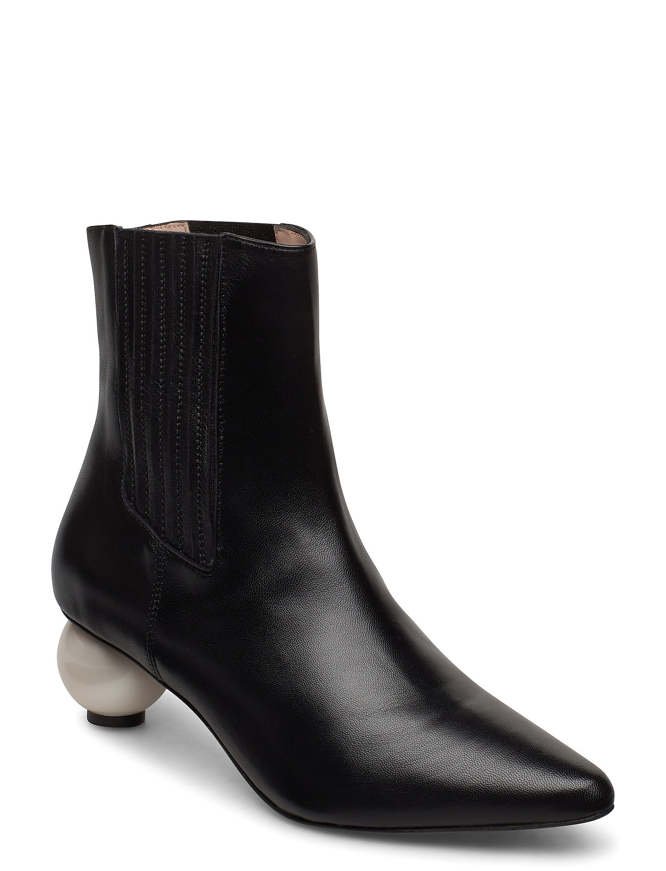 Image of Roxanne Black Boot With Pearl Heel Shoes Boots Ankle Boots Ankle Boot - Heel Sort Mother Of Pearl (3432006943)