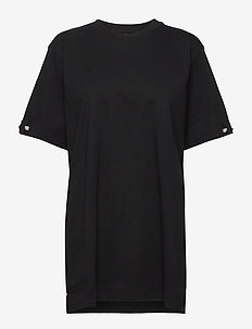 MINTIE OVERSIZED T-SHIRT WITH PEARL BAR - t-shirts - black
