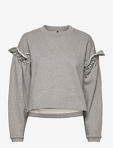 DANI CROPPED JUMPER WITH PEARL SHOULDER - sweatshirts - grey