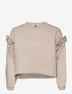 DANI CROPPED JUMPER WITH PEARL SHOULDER - sweatshirts - oatmeal
