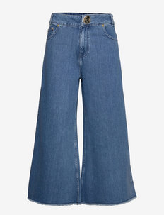 CHLOE CROPPED JEANS - brede jeans - stonewash