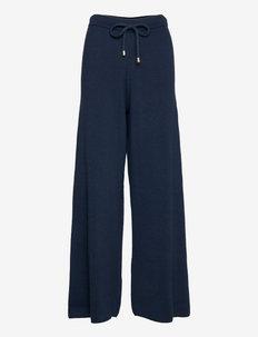 LUNA WIDE LEG KNIT TROUSERS - bukser med brede ben - black