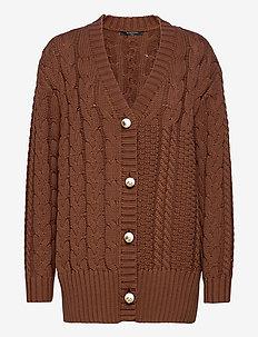 ARIA KNIT CARDIGAN - cardigans - brown